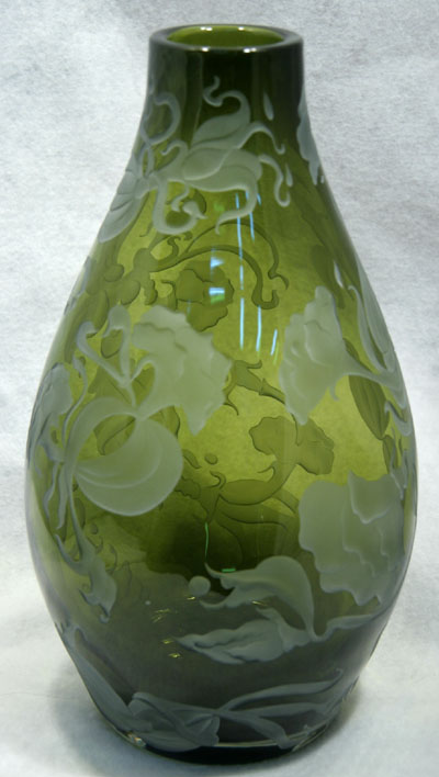 Carved Glass Vases Sandblasted Glass Vases Rocky Mountain Artist Janet Zambai