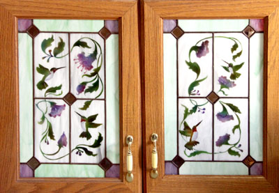 Set Of Custom Original Stained Glass Cabinet Doors With