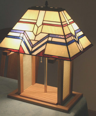 Custom Cut Stained Glass Lamp With A Simple Geometric